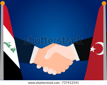 Deal Cooperation partnership Turkey and Iraq with the businessman handshake symbol vector illustration