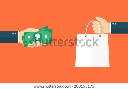 Deal flat illiustration.Hand holding money and hand holding paper bag. eps8