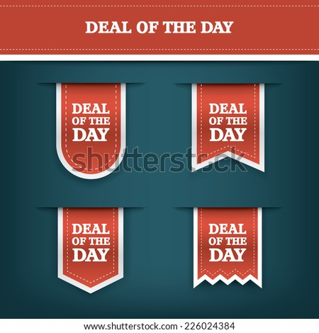 Deal of the day vertical ribbon bookmark tag element for sales promotion. Eps10 vector illustration