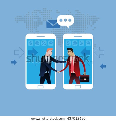 Deal on Mobile phone. Handshake of two business people with cell phone background. On line deal. Business concept illustration vector clip art design #437012650