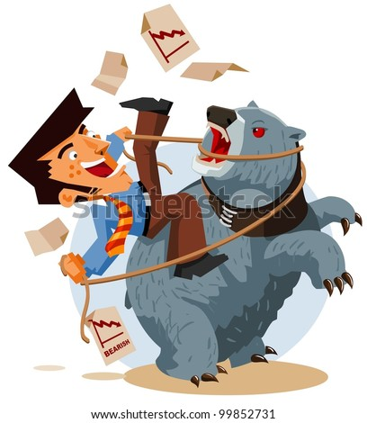Deal with Bearish Market. Vector Illustration