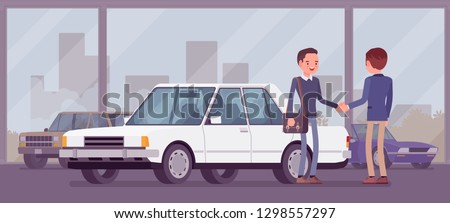 Dealer in car showroom displays vehicle for sale. Male automobile seller and customer makes an agreement in sales agency, man buying new auto, business deal in shop, loan approve. Vector illustration