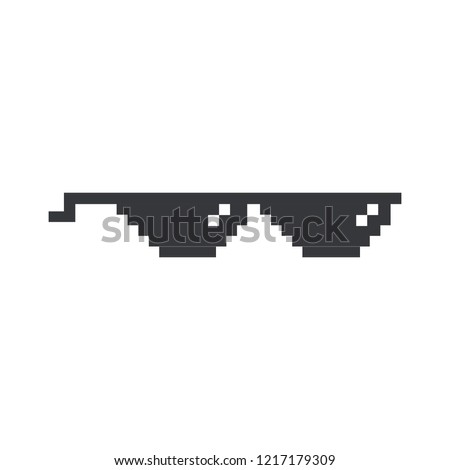 Dealt with it funny pixelated sunglasses. Pair of 8bit style sunglasses vector icon. Stock vector illustration