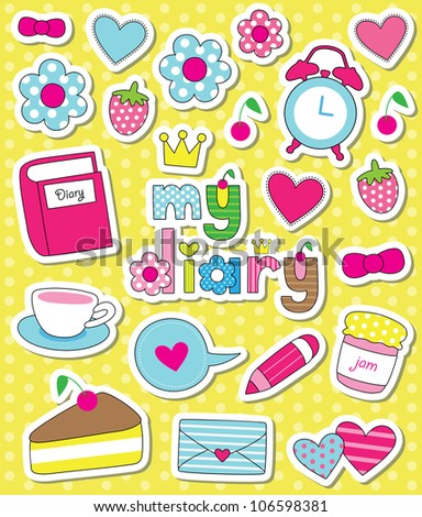 dear diary scrapbook elements. vector illustration