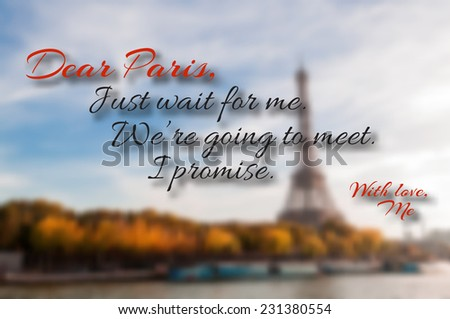 dear paris  just wait for me