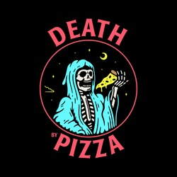 DEATH BY PIZZA GRIM REAPER WITH PIZZA SLICE COLOR BLACK BACKGROUND