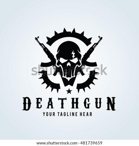 death gun logo  skull and gun