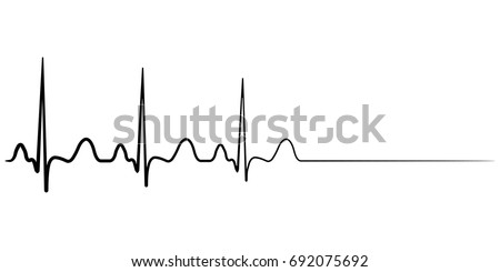 Death icon, cardiac arrest, vector cardio cardiogram, concept of condolence, departure to another world