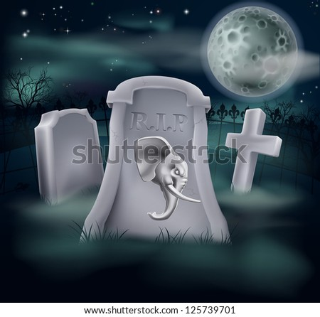 Death of Republican Party concept of tombstone with Republican symbol of Elephant on a grave marker (Democrat version also available)
