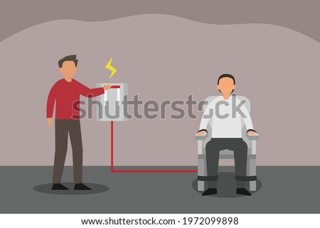 Death penalty vector concept: Male prisoner sitting on death penalty electric chair