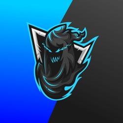 death reaper mascot esport gaming logo design illustration
