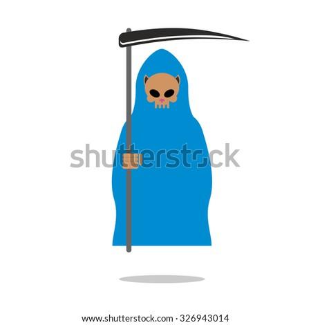 death skull cat in blue cloak