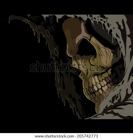 death skull in hood horror