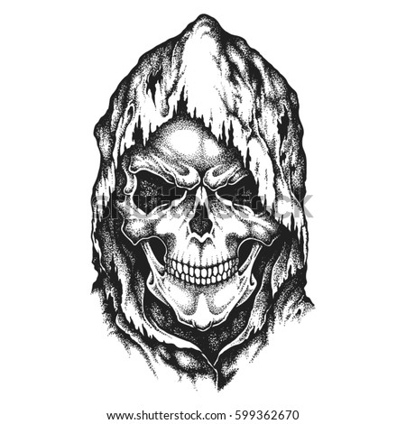 death skull in worn hood hand