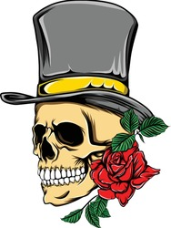 Death skull with the top hat and the red rose for the tattoos inspiration of illustration