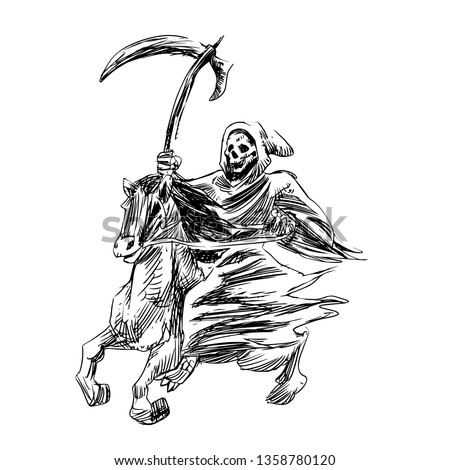 Stock Photo Death with a scythe rides a horse - Hand drawn engraving - Vector vintage illustration