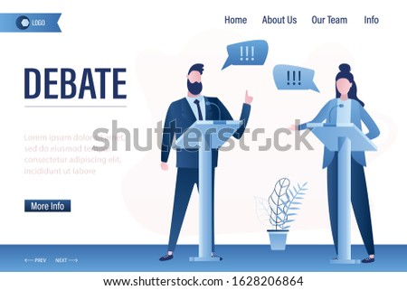 Debate before vote landing page template. Leaders of opposing political parties talking on public debates. Two politicians debate on rostrum,electorate group. Gender equality poster. Vector Stock photo ©