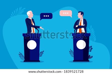 Debate vector illustration - Two men debating politics, fictional characters. Сток-фото ©