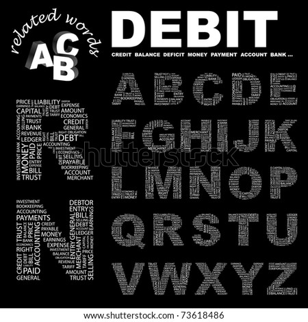 DEBIT. Wordcloud alphabet with different association terms.
