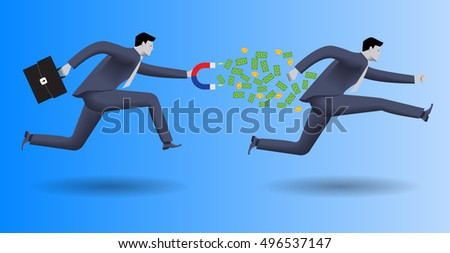 Debt collector business concept. Confident businessman in business suit with magnet in one hand and case in other chases another businessman and pulls money out of him. Debt collection