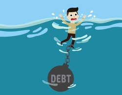 debt. cute cartoon design illustration.