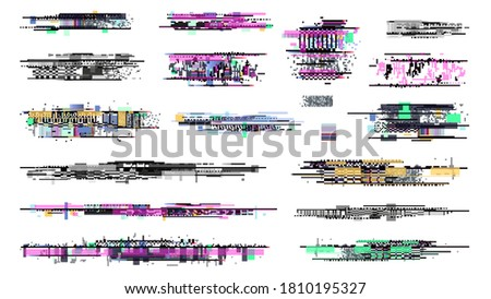 Decay signal. Glitch graphics, tv noise signal collection. Retro pixel television error, screen video damage. Grunge disintegration on display vector illustration stock photo