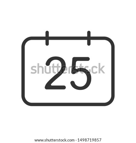 december 25 calendar date outline vector icon isolated on white background. december 25 christmas holiday flat icon for web, mobile and user interface design. winter holidays concept