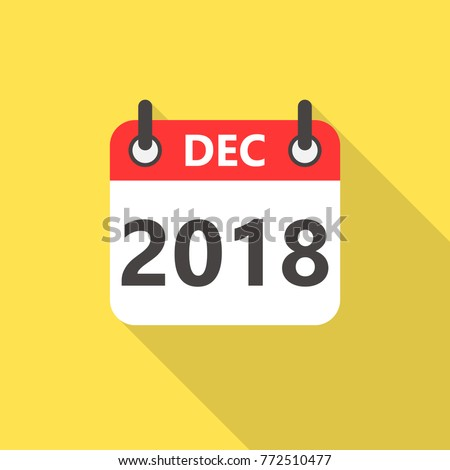 December 2018 calendar flat style icon with long shadow.