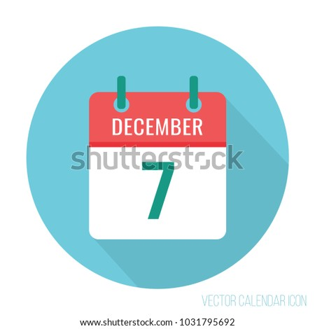 December 7 calendar icon flat
