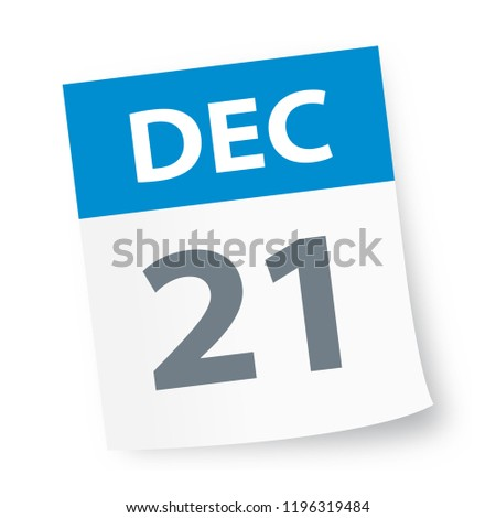 December 21 - Calendar Icon - Vector Illustration