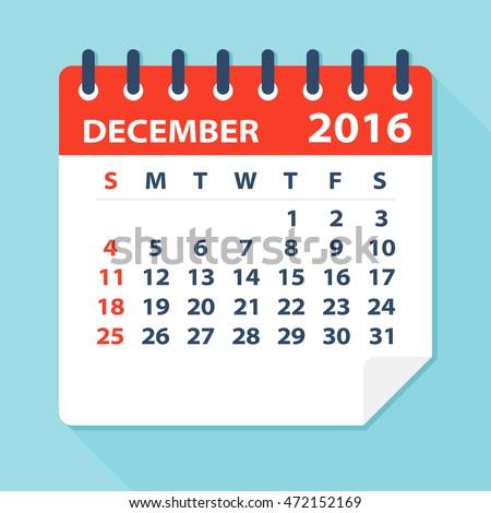 December 2016 calendar - Illustration