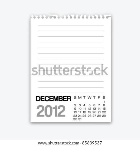 December calendar 2012 on note paper