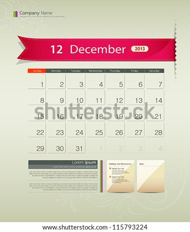 December 2013 calendar ribbon design, vector illustration