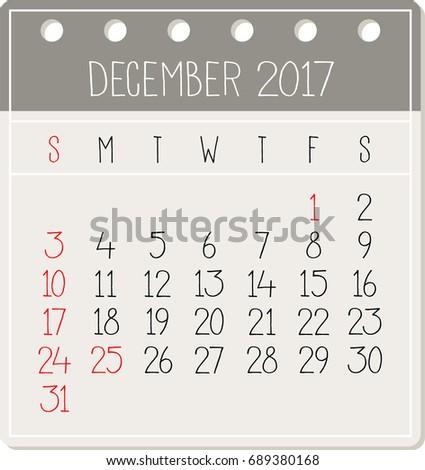 December 2017 calendar - Vector Illustration