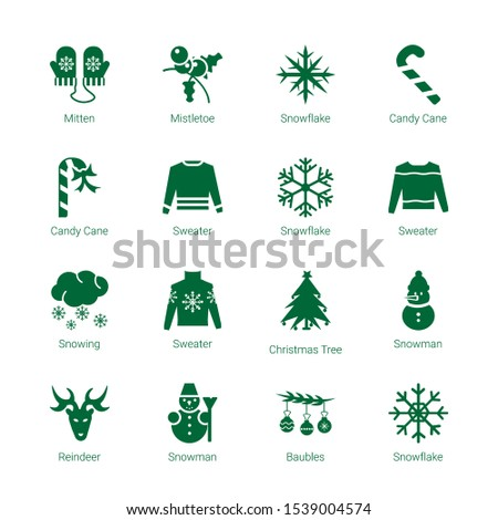 december icons. Editable 16 december icons. Included icons such as Mitten, Mistletoe, Snowflake, Candy cane, Candy Cane, Sweater, Snowing, Christmas tree. december trendy icons for web.