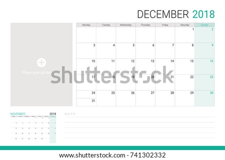 December 2018 illustration vector calendar or desk planner, weeks start on Monday, with empty lines for writing notes and space for picture