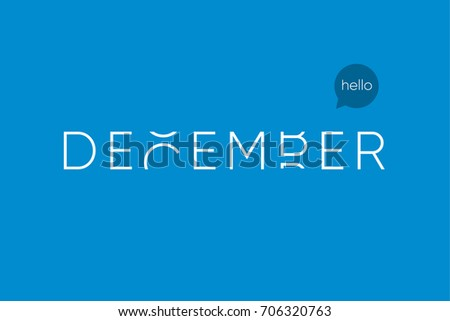 December logo with capitals letters in movement. Editable vector design.