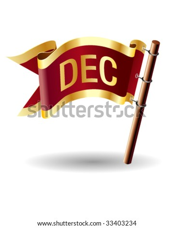 December month calendar icon on royal vector flag button, good for use on websites, in print, or on promotional materials