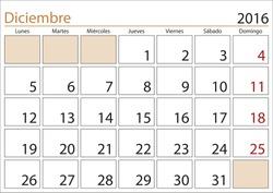 December month in a year 2016 calendar in spanish. Diciembre 2016. Calendario 2016