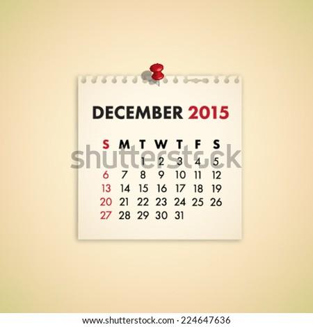 December 2015 Note Paper Calendar Vector