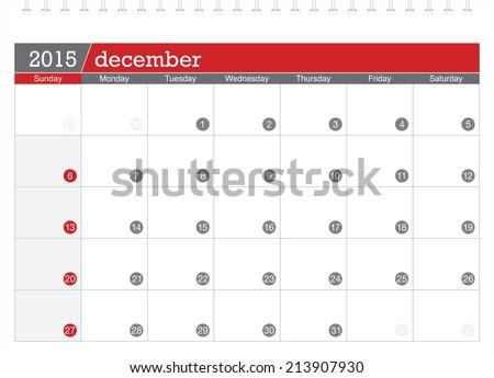December 2015 planning calendar