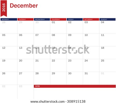 December 2016 - planning calendar