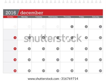 December 2016 planning calendar