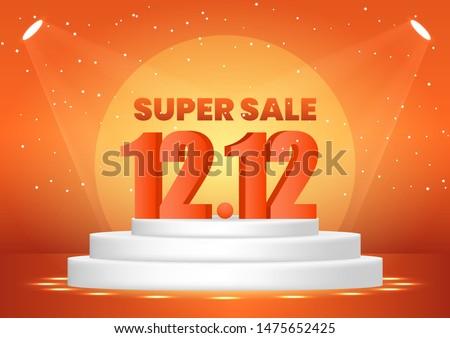 December 12 super sale shopping day on pedestal for poster, web banner, landing page, poster, flyer, promotional material.