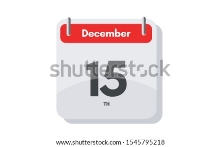 December 15th calendar icon. Day 15 of month. Vector illustration.