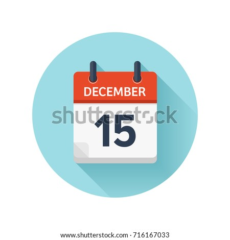 December 15. Vector flat daily calendar icon. Date and time, day, month 2018. Holiday. Season.