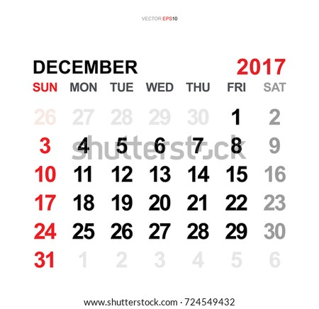 December 2017. Vector monthly calendar template 2017 year in simple style for template design. Week starts from Sunday.