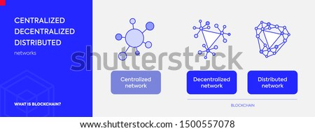 Decentralized Distributed Centralized networks and differences between. Set of blockchain icons. State of the applications. Vector isolated illustration with bright blue