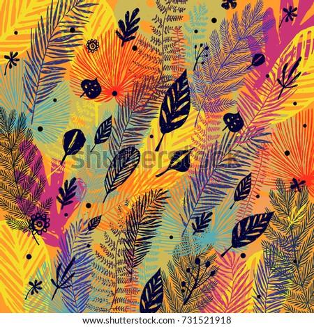 Deciduous, defoliation, multicolor trendy autumn background, leaf fall. Vector botanical illustration, Great design element for congratulation cards, banners.
