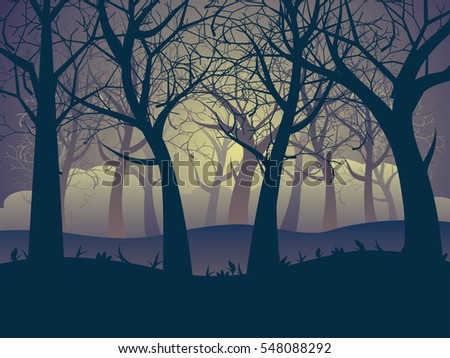 Deciduous forest landscape with silhouettes of trees and grass in green mist.